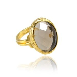 Smoky Quartz Oval Ring